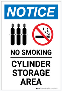 Notice: No Smoking Cylinder Storage Area with Icons - Label