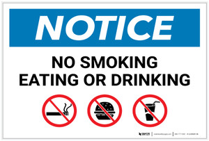 Notice: No Smoking Eating Or Drinking with Icons - Label