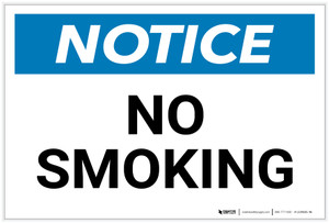 Notice: No Smoking - Label