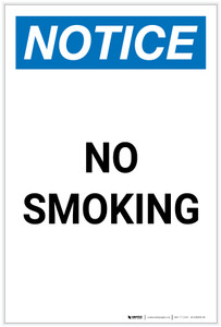 Notice: No Smoking Portrait - Label