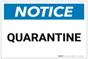 Notice: Quarantine - Label