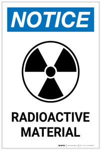 Notice: Radioactive Material Portrait with Icon - Label
