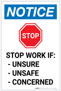Notice: Stop Work if Unsure/Unsafe/Concerned Portrait - Label