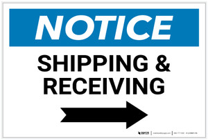 Notice: Shipping & Receiving with Right Arrow - Label
