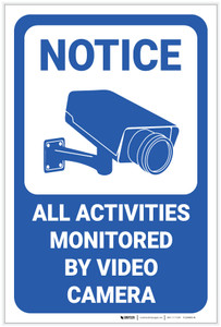 Notice: All Activities Monitored by Video Camera Icon Portrait - Label