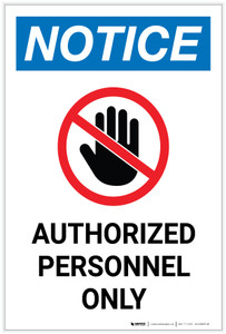 Notice: Authorized Personnel Only Hand Icon Portrait - Label