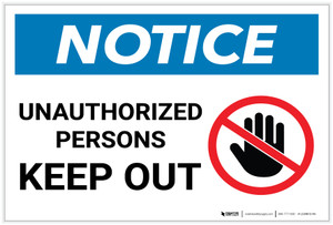 Notice: Unauthorized Persons Keep Out with Icon Landscape - Label