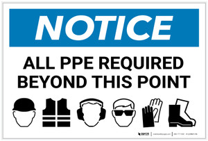 Notice: All PPE Required Beyond This Point - PPE Icons Landscape - Label