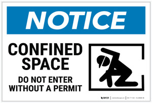 Notice: Confined Space Do Not Enter Without Permit Confined Person Icon Landscape - Label