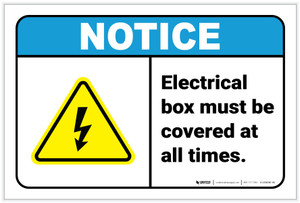 Notice: Electrical Box Must Be Covered Electrical Safety Icon Landscape ANSI - Label