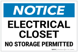 Notice: Electrical Closet No Storage Permitted Landscape - Label