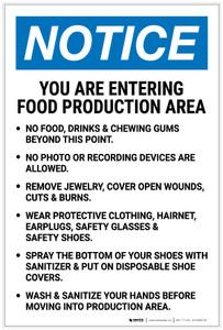 Notice: Food Production Area Bulleted List Portrait - Label