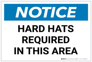 Notice: Hard Hats Required In This Area Landscape - Label