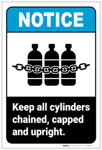 Notice: Keep Cylinders Chained Capped with Icon Portrait ANSI - Label