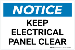 Notice: Keep Electrical Panel Clear Landscape - Label