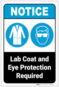 Notice: Lab Coat And Eye Protection Required Portrait ANSI - Label