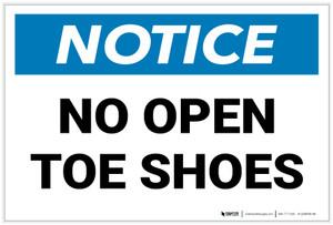 Notice: No Open Toe Shoes Landscape - Label