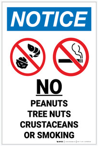 Notice: No Peanuts/Tree Nuts/Crustaceans/Smoking Icon Portrait - Label