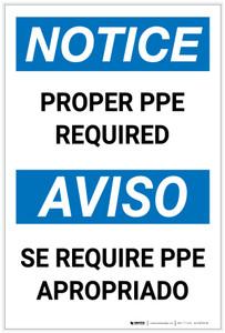 Notice: Proper PPE Required Bilingual Portrait - Label