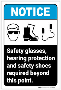 Notice: Safety Glasses/Hearing Protection/Safety Shoes Required Portrait ANSI - Label