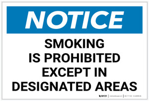 Notice: Smoking Is Prohibited Except Designated Areas Landscape - Label