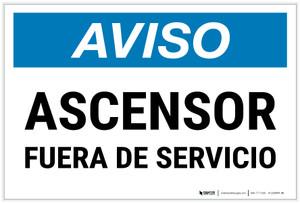 Notice: Elevator Out Of Order Spanish Landscape - Label