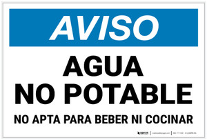 Notice: Non Potable Water Not For Drinking Cooking Spanish Landscape - Label