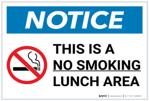 Notice: This Is A No Smoking Lunch Area with Icon Landscape - Label