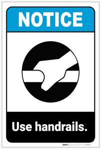 Notice: Use Handrails Portrait ANSI - Label