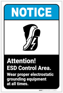 Notice: ESD Control Area Wear Footprint Lightning Icon Portrait ANSI - Label