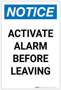 Notice: Activate Alarm Before Leaving Portrait - Label