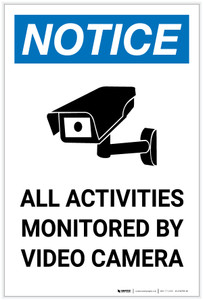 Notice: All Activities Monitored by Video Camera with Icon Portrait - Label