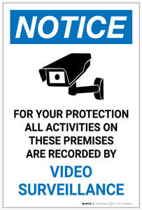 Notice: All Activities Recorded Video Surveillance Video Camera Icon Portrait - Label