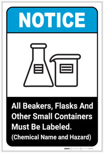Notice: All Beakers Flasks And Other Small Containers ANSI Portrait - Label