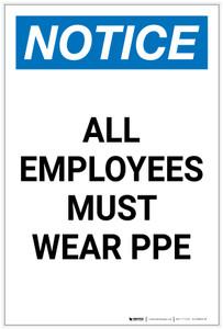 Notice: All Employees Must Wear PPE Portrait - Label