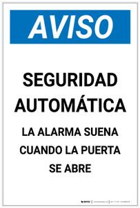 Notice: Automatic Security Alarm Will Sound When Door Open Spanish Portrait - Label