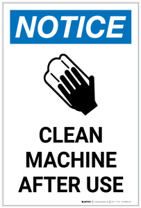 Notice: Clean Machine After Use with Icon Portrait - Label