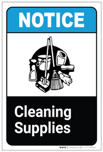 Notice: Cleaning Supplies ANSI Portrait - Label