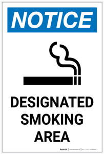 Notice: Designated Smoking Area with Icon Portrait - Label