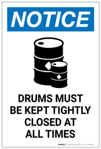 Notice: Drums Must be Kept Tightly Closed at All Times with Icon Portrait - Label