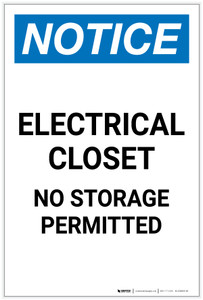 Notice: Electrical Closet No Storage Permitted Portrait - Label