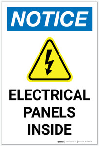 Notice: Electrical Panels Inside with Icon Portrait - Label