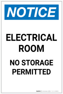 Notice: Electrical Room No Storage Permitted Portrait - Label