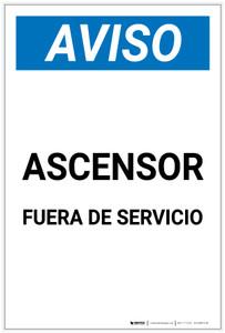 Notice: Elevator Out Of Order Spanish Portrait - Label