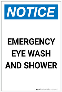 Notice: Emergency Eye Wash and Shower Portrait - Label