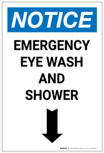 Notice: Emergency Eye Wash Station and Shower with Arrow Down Icon Portrait - Label