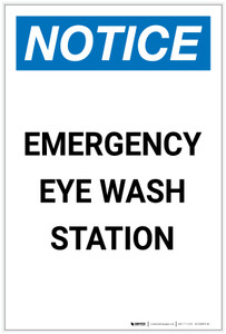 Notice: Emergency Eyewash Station Portrait - Label
