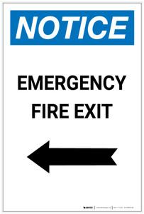 Notice: Emergency Fire Exit with Arrow Left Portrait - Label