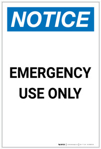 Notice: Emergency Use Only Portrait - Label