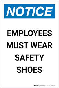 Notice: Employees Must Wear Safety Shoes Portrait - Label